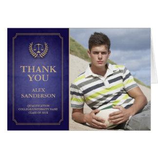Blue/Gold Legal/Law School Graduation Thank You Greeting Card