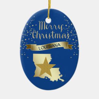 Blue Gold Louisiana Star Ceramic Ornament