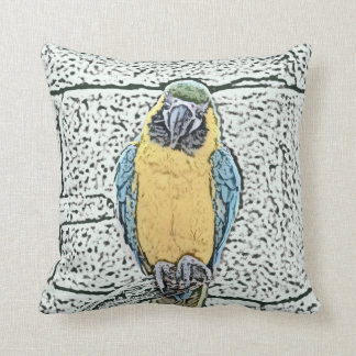 blue gold macaw on perch watercolor cushion