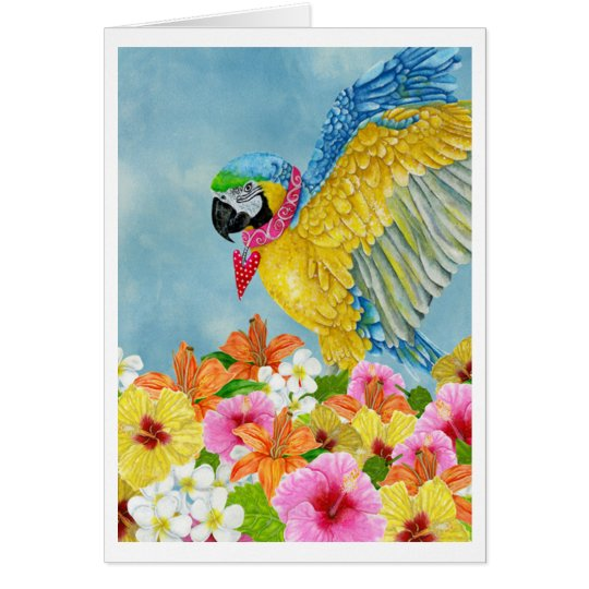 Blue & Gold Macaw Watercolour Blank Greeting Card