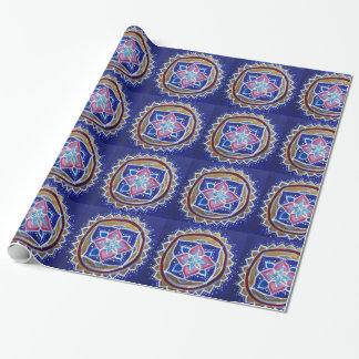 Blue Gold Mandala Glossy Wrapping Paper