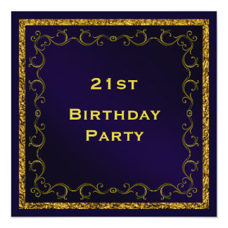 Blue & Gold Man's Double Sided 21st Birthday 13 Cm X 13 Cm Square Invitation Card