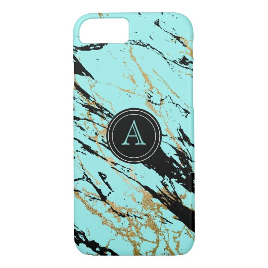 Blue Gold Marble Monogram Cute Bling iPhone 8/7 Case