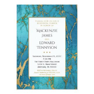 Blue Gold Marble Rehearsal Dinner Invitation