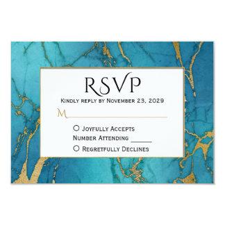 Blue Gold Marble RSVP Wedding Response Card