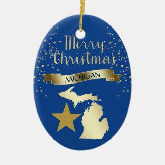 Blue Gold Michigan Star Ceramic Ornament