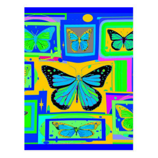 Blue & Gold Monarch Butterfly Art by Sharles Postcard