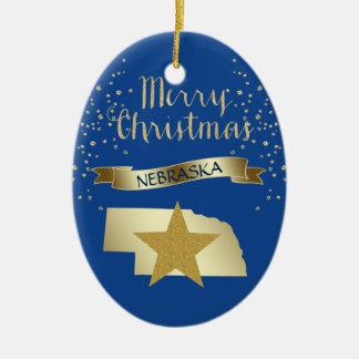 Blue Gold Nebraska Star Ceramic Ornament