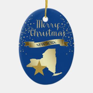 Blue Gold New York Star Ceramic Ornament