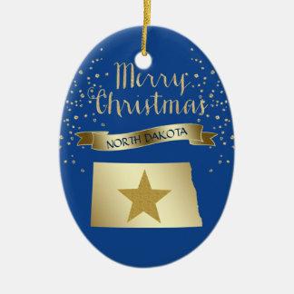 Blue Gold North Dakota Star Ceramic Ornament