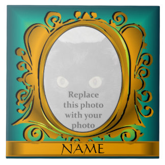 Blue Gold Oval Photo Frame with Name Tile Tile