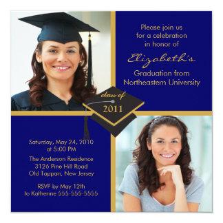 Blue & Gold Photo Graduation Invitation 2011