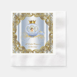 Blue Gold Prince Carriage Prince Baby Shower Disposable Serviette
