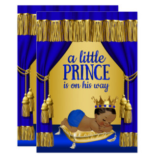 Blue Gold Prince Ethnic Baby Shower Invitations