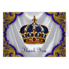 Blue Gold Prince King Crown Thank You Card
