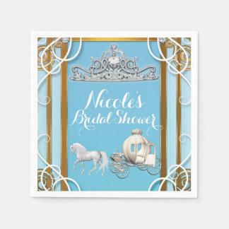 Blue Gold Princess Crown & Carriage Sweet 16 Party Paper Serviettes