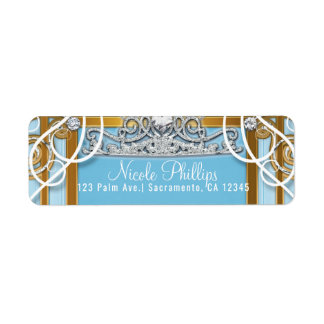 Blue Gold Princess Crown & Carriage Sweet 16 Party Return Address Label