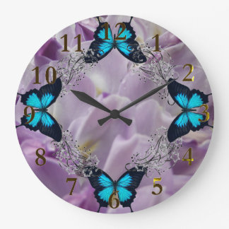 blue & gold purple flowers large clock