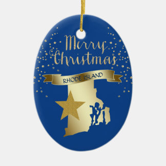 Blue Gold Rhode Island Star Ceramic Ornament