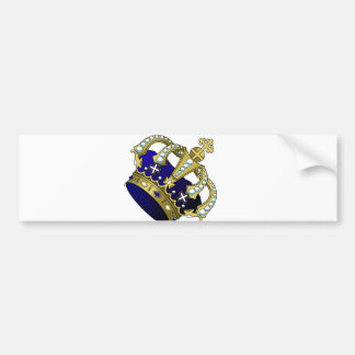 Blue & Gold Royal Crown Bumper Sticker