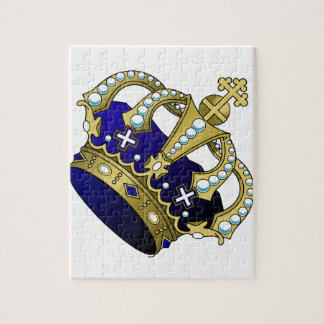 Blue & Gold Royal Crown Jigsaw Puzzle