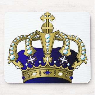 Blue & Gold Royal Crown Mouse Pad