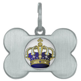 Blue & Gold Royal Crown Pet ID Tag