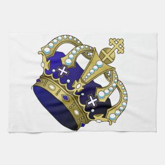 Blue & Gold Royal Crown Tea Towel