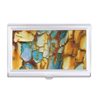 Blue Gold Rust Tarnished Patina Case For Business Cards