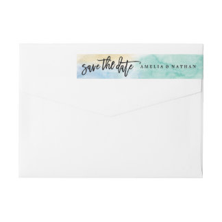 Blue Gold Save The Date Wedding Wrap Around Label
