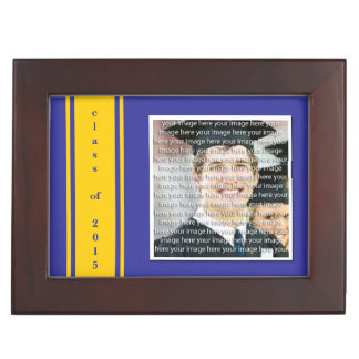 Blue & Gold School Color Graduation Keepsake Box