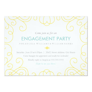 Blue & Gold Scrolls Engagement Party Invite