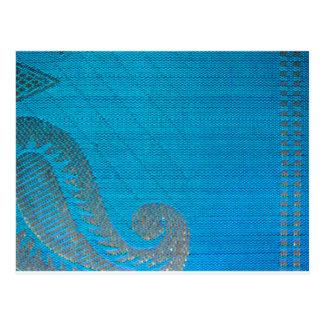 Blue & Gold Silk Paisley Cloth Postcard