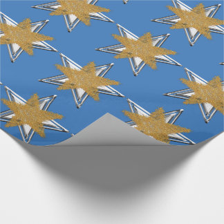 Blue Gold silver Star Wrapping Paper