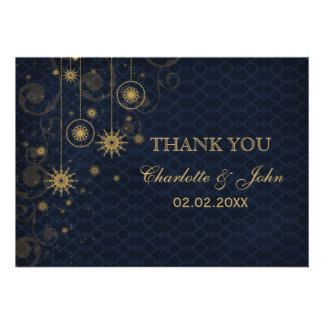 blue gold Snowflakes Winter wedding Thank You Custom Invites