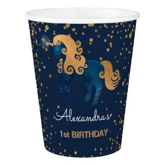 Blue & Gold Sparkle Confetti Unicorn 1st Birthday Paper Cup