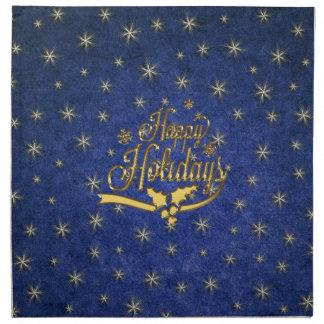 Blue Gold Star Happy Holidays Napkins