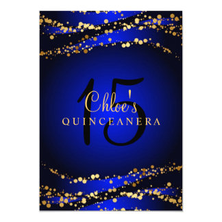 Blue & Gold Stardust Quinceañera Invitation
