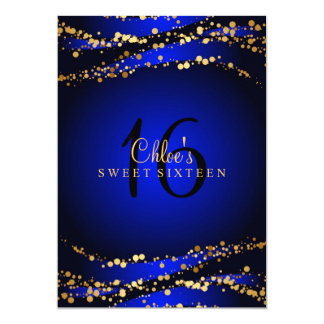 Blue & Gold Stardust Sweet 16 Invitation