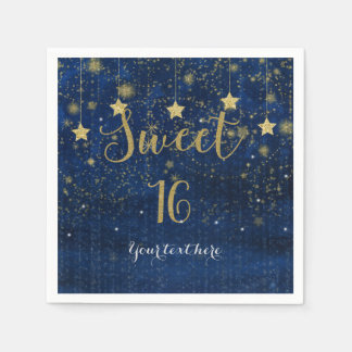 Blue & Gold Starry Celestial Sky Sweet 16 Party Disposable Napkins