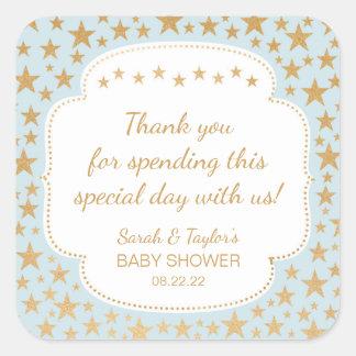 Blue Gold Stars Boy Baby Shower favor bag sticker