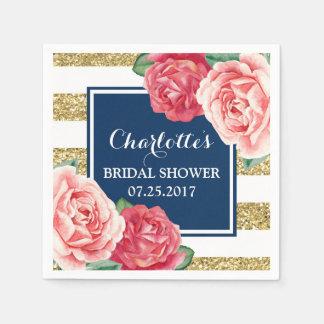 Blue Gold Stripes Pink Flowers Bridal Shower Disposable Serviette