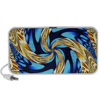 Blue Gold Swirl Doodle iPod Speaker