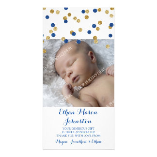 Blue Gold Thank You Baby Shower Photo Cards
