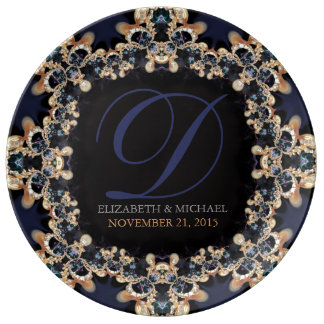 Blue Gold : Vintage Gems Wedding Anniversary Gift Porcelain Plates