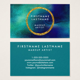 Blue & Gold Watercolor Salon and Makeup Artist Business Card