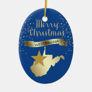Blue Gold West Virginia Star Ceramic Ornament