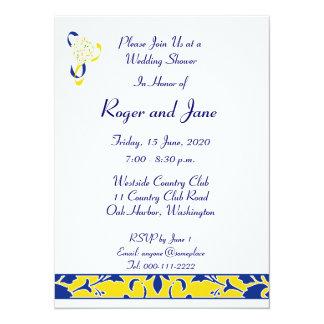 "Blue, Gold, & White, Damask Bridal Shower 5.5"" X 7.5"" Invitation Card"
