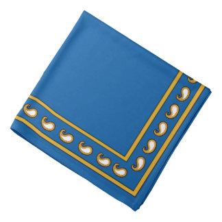 Blue Gold White Paisley Bandana