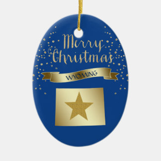 Blue Gold Wyoming Star Ceramic Ornament